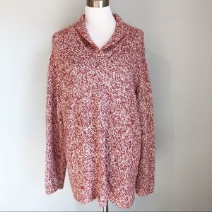 CJ Banks Women's Red Marled Shawl Collar Sweater
